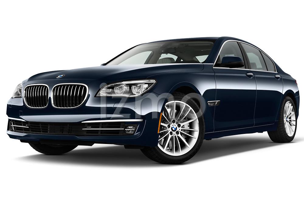 Low aggressive front three quarter view of a 2013 BMW 7-Series 750i sedan.