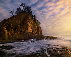 A slightly longer shutter speed captures the water receding into the ocean after big wave action at sunset on the Olympic coast.<br /> <br /> ARTIST CHOICE: 24x30 Lumachrome/Acylic