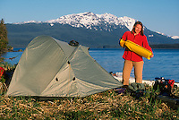 Setting up camp in Seymour Canal during a kayak trip. M