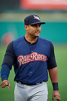 Scranton/Wilkes-Barre RailRiders designated hitter Donovan Solano (17) during warmups before the first game of a doubleheader against the Rochester Red Wings on August 23, 2017 at Frontier Field in Rochester, New York.  Rochester defeated Scranton 5-4 in a game that was originally started on August 22nd but was was postponed due to inclement weather.  (Mike Janes/Four Seam Images)