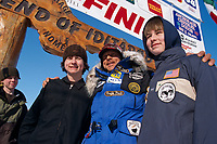 M.Buser Poses with Sons Rohn & Nikolai at Nome<br /> 2004 Iditarod