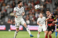 10th February 2021; Bankwest Stadium, Parramatta, New South Wales, Australia; A League Football, Western Sydney Wanderers versus Melbourne Victory; Storm Roux of Melbourne Victory gets his header towards goal