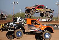 Apr 17, 2011; Surprise, AZ USA; LOORRS driver Robbie Pierce (30), Phil Bollman(65) during round 4 at Speedworld Off Road Park. Mandatory Credit: Mark J. Rebilas-