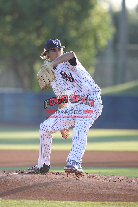 Florida Atlantic Owls starting pitcher Kyle Miller (17) in action against the Middle Tennessee State Blue Raiders at FAU Stadium on March 20, 2015 in Boca Raton, Florida.  The Florida Atlantic Owls defeated the Middle Tennessee Blue Raiders 4-2.  (Stacy Jo Grant/Four Seam Images)