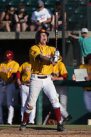 Garrett Stubbs #51 of the USC Trojans bats against the Northwestern Wildcats at Dedeaux Field on  February 16, 2014 in Los Angeles, California. USC defeated Northwestern, 13-6. (Larry Goren/Four Seam Images)