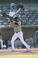 Jose Guzman (3) of the Inland Empire 66ers bats against the Stockton Ports at San Manuel Stadium on June 27 2021 in San Bernardino, California. (Larry Goren/Four Seam Images)