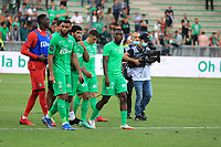 25th September 2021; Saint-Etienne Stade Geoffroy Guichard, France; AS Saint-Etienne versus OGC Nice; ASSE players go to the stands to talk with the fans