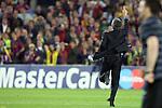 Football - FC Barcelona v Inter Milan UEFA Champions League Semi Final Second Leg - Camp Nou Stadium, Barcelona, Spain - 28/4/10 Inter Milan's coach Jose Mourinho celebrating after winning the match
