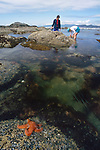 Olympic National Park, Shi Shi Beach, Point of the Arches, Washington State, Pacific Northwest, couple exploring tide pools Pacific Ocean, Northwest coast, Olympic Peninsula, North America, USA,.