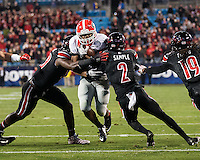 Charlotte, North Carolina - December 30, 2014: The number 13 ranked Georgia Bulldogs beat the number 21 ranked Louisville Cardinals 37-14 in the Belk Bowl at Bank of America Stadium.