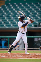 Montgomery Biscuits Lucius Fox (1) during a Southern League game against the Mobile BayBears on May 2, 2019 at Riverwalk Stadium in Montgomery, Alabama.  Mobile defeated Montgomery 3-1.  (Mike Janes/Four Seam Images)