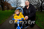 Little Asher Enright and Kevin O'Connor enjoying a stroll in the Tralee town park on Friday.