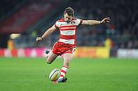 Greig Laidlaw of Gloucester Rugby takes a penalty kick during the Aviva Premiership Rugby match between Harlequins and Gloucester Rugby at Twickenham Stadium on Tuesday 27th December 2016 (Photo by Rob Munro/Stewart Communications)