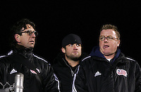 The coaching staff of the New England Revolution of Major League Soccer scouts the game. Head coach Steve Nicol (r) with assistant Paul Mariner (l). The University of New Mexico Lobos defeated the Clemson University Tigers 2-1 in a Men's College Cup Semifinal at SAS Stadium in Cary, NC, Friday, December 9, 2005.
