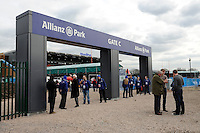 20130216 Copyright onEdition 2013©.Free for editorial use image, please credit: onEdition..Branding at one of the entrance gates for the Premiership Rugby match between Saracens and Exeter Chiefs at Allianz Park on Saturday 16th February 2013 (Photo by Rob Munro)..For press contacts contact: Sam Feasey at brandRapport on M: +44 (0)7717 757114 E: SFeasey@brand-rapport.com..If you require a higher resolution image or you have any other onEdition photographic enquiries, please contact onEdition on 0845 900 2 900 or email info@onEdition.com.This image is copyright onEdition 2013©..This image has been supplied by onEdition and must be credited onEdition. The author is asserting his full Moral rights in relation to the publication of this image. Rights for onward transmission of any image or file is not granted or implied. Changing or deleting Copyright information is illegal as specified in the Copyright, Design and Patents Act 1988. If you are in any way unsure of your right to publish this image please contact onEdition on 0845 900 2 900 or email info@onEdition.com