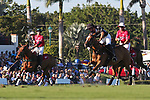 WELLINGTON, FL - DECEMBER 31:  Most Valuable Player Matt Coppola (black helmet), takes a shot at the goal, in the Tackeria's 12-11 win in the Herbie Pennell Cup Final, at the International Polo Club Palm Beach, on December 31, 2017 in Wellington, Florida. (Photo by Liz Lamont/Eclipse Sportswire/Getty Images)