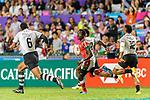 Eroni Sau of Fiji (C) runs with the ball during the HSBC Hong Kong Sevens 2018 match between Fiji and Kenya on 08 April 2018, in Hong Kong, Hong Kong. Photo by Marcio Rodrigo Machado / Power Sport Images