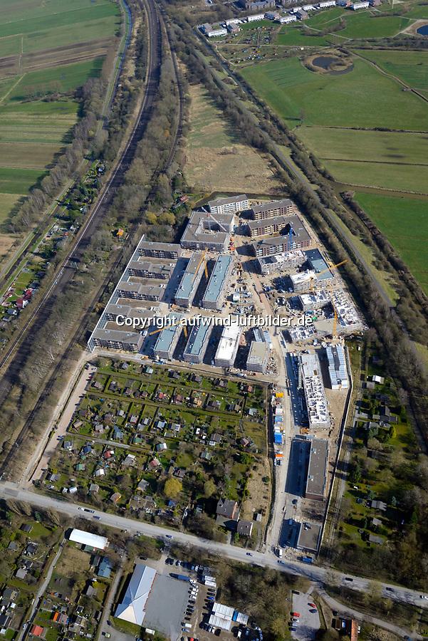 Gleisdreieck Asylanten Wohnungsbau  : EUROPA, DEUTSCHLAND, HAMBURG 27.03.2017: im Bau befindliches Wohngebiet Gleisdreieck Mittlerer Landweg