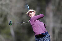 WALLACE, NC - MARCH 09: Mallory Fobes of UNC Wilmington tees off on the 12th hole of the River Course at River Landing Country Club on March 09, 2020 in Wallace, North Carolina.