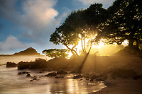Sunrise at Koki beach and Alau Island at sunrise. Maui, Hawaii