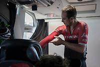 John Degenkolb (DEU/Trek-Segafredo) pre-race prep on the teambus<br /> <br /> 79th Gent-Wevelgem 2017 (1.UWT)<br /> 1day race: Deinze › Wevelgem - BEL (249km)
