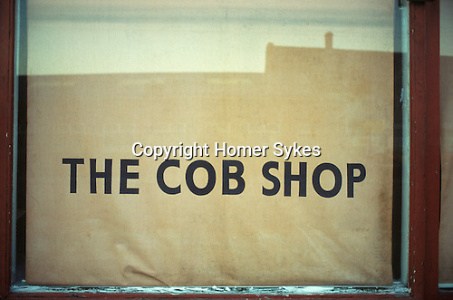 Hull, Humberside. 1980<br /> The Cob Shop in the Hessle Road area, down by the docks is closed. A cob is a small round loaf, a working mans daily bread. Usually made from whole wheat flour, rather than refined white flour, which used to be reserved for a rich mans loaf of bread.