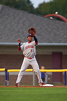 Auburn Doubledays first baseman Diomedes Eusebio (31) stretches for a throw during a game against the Batavia Muckdogs on September 5, 2015 at Dwyer Stadium in Batavia, New York.  Batavia defeated Auburn 6-3.  (Mike Janes/Four Seam Images)