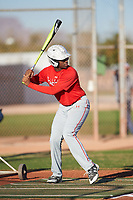Ray Huggins (54), from Seaside, California, while playing for the Cardinals during the Under Armour Baseball Factory Recruiting Classic at Gene Autry Park on December 27, 2017 in Mesa, Arizona. (Zachary Lucy/Four Seam Images)