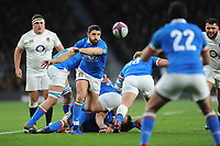 Tito Tebaldi of Italy passes during the Guinness Six Nations match between England and Italy at Twickenham Stadium on Saturday 9th March 2019 (Photo by Rob Munro/Stewart Communications)