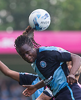 Marcus Bean of Wycombe Wanderers wins the ball in the air during the Sky Bet League 2 match between Wycombe Wanderers and Northampton Town at Adams Park, High Wycombe, England on 3 October 2015. Photo by Andy Rowland.