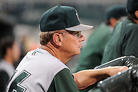 Fort Wayne TinCaps pitching coach Burt Hooton (26) during a game against the Great Lakes Loons on August 19, 2013 at Dow Diamond in Midland, Michigan.  Great Lakes defeated Fort Wayne 12-5.  (Mike Janes/Four Seam Images)