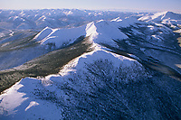 Aerial of the snow covered hills near Chena Hot springs, Interior, Alaska