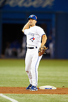 Toronto Blue Jays second baseman Omar Vizquel #17 during an American League game against the Seattle Mariners at the Rogers Centre on September 13, 2012 in Toronto, Ontario.  Toronto defeated Seattle 8-3.  (Mike Janes/Four Seam Images)