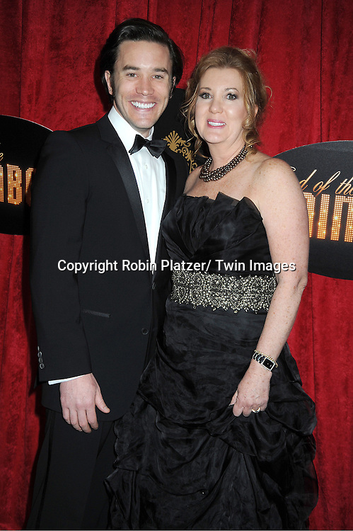"""actor Tom Pelphrey and his mother Laurie Pelphrey arrive at the """" End Of The Rainbow"""" Broadway opening night party  at The Plaza Hotel  in New York City on April 2, 2012. The show stars Tracie Bennett, Tom Pelphrey, Michael Cumptsy and Jay Russell."""