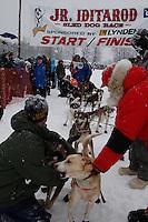 leaves the start line of the 2009 Junior Iditarod on Knik Lake on Saturday Februrary 28, 2009.
