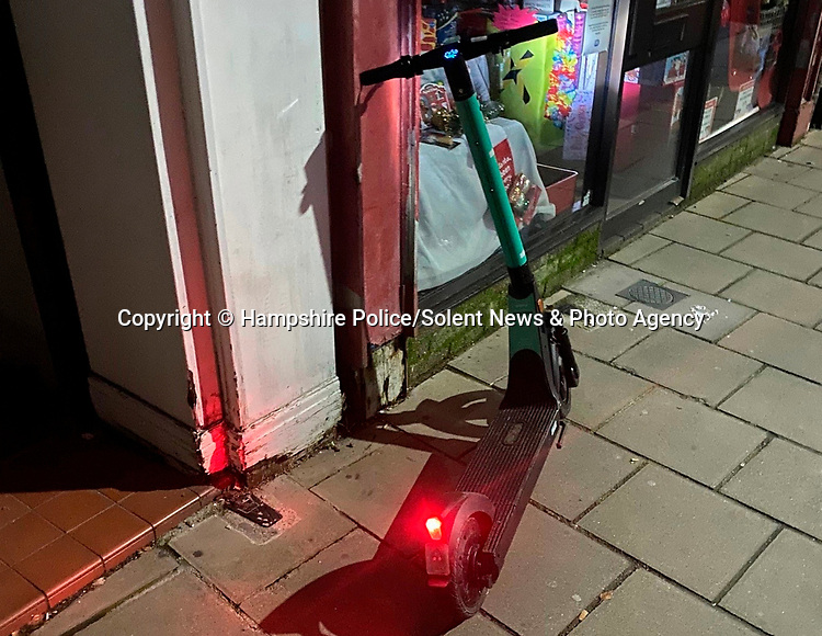 Pictured: The e-scooter on the night of the incident. <br /> <br /> A 20-year-old woman has become the first in Britain to be convicted of drink driving on an e-scooter.   Kyah Jordan was almost three times over the limit when she went through a red light and almost crashed into an unmarked police car.<br /> <br /> In court, her lawyer tried to argue that she was travelling so slowly on the electrically powered contraption she couldn't have posed a danger to anyone.   But magistrates banned her from the road for two years, stating 'it's a motor vehicle, the same as a moped, the same as a bus'.   SEE OUR COPY FOR DETAILS.<br /> <br /> <br /> Please byline: Hampshire Police/Solent News<br /> <br /> © Hampshire Police/Solent News & Photo Agency<br /> UK +44 (0) 2380 458800