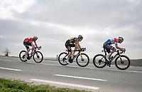 Mathieu Van der Poel (NED/Alpecin-Fenix), Wout van Aert (BEL/Jumbo-Visma) & Kasper Asgreen (DEN/Deceuninck - Quick Step) taking full control over the race<br /> <br /> 105th Ronde van Vlaanderen 2021 (MEN1.UWT)<br /> <br /> 1 day race from Antwerp to Oudenaarde (BEL/264km) <br /> <br /> ©kramon