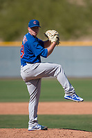 Chicago Cubs relief pitcher Wyatt Short (39) during a Minor League Spring Training game against the Oakland Athletics at Sloan Park on March 19, 2018 in Mesa, Arizona. (Zachary Lucy/Four Seam Images)