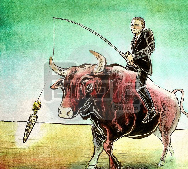 Businessman riding bull with money carrot attached to fishing rod depicting manipulation of stock market