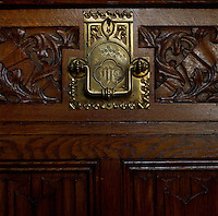 Key escutcheon and handle on a drawer designed by Pugin, showing the care lavished on every detail of the House of Lords