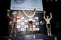 Women Juniors TT podium:<br /> 1/ Chloe Dygert (USA)<br /> 2/ Emma White (USA)<br /> 3/ Anna-Leeza Hull (AUS)<br /> <br /> UCI Road World Championships / Richmond 2015
