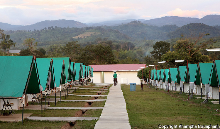 Tents are set up at base camp for U.S. military searching for remains of missing American from the Vietnam war at Ta Oy, Laos on Tuesday, November 6, 2012. (Star-Telegram/Khampha Bouaphanh)