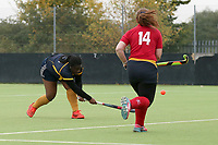 Romford score their first goal during Romford HC Ladies vs Upminster HC Ladies 4th XI, East Region League Field Hockey at Drapers Academy on 16th October 2021