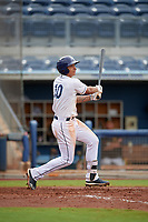 Charlotte Stone Crabs Kaleo Johnson (10) hits a home run during a Florida State League game against the Bradenton Maruaders on August 7, 2019 at Charlotte Sports Park in Port Charlotte, Florida.  Charlotte defeated Bradenton 3-2 in the second game of a doubleheader.  (Mike Janes/Four Seam Images)