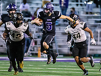 Bladen Fike (5) of Fayetteville keeps the ball on the quarterback keeper at Harmon Stadium, Fayetteville, Arkansas on Friday, November 13, 2020 / Special to NWA Democrat-Gazette/ David Beach