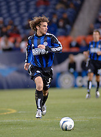 Colorado midfielder Kyle Beckerman chases down a loose ball. The Colorado Rapids drew 0-0 with FC Dallas in the first game of the Western Conference Semi-finals Invesco Field at Mile High, Denver, Colorado, September 22, 2005.