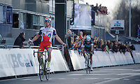 race winner Alexander Kristoff (NOR/Katusha) crossing the finish line with Niki Terpstra (NLD/Etixx-QuickStep) close behind<br /> <br /> 99th Ronde van Vlaanderen 2015