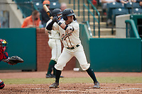 Nick Gonzales (2) of the Greensboro Grasshoppers at bat against the Rome Braves at First National Bank Field on May 16, 2021 in Greensboro, North Carolina. (Brian Westerholt/Four Seam Images)