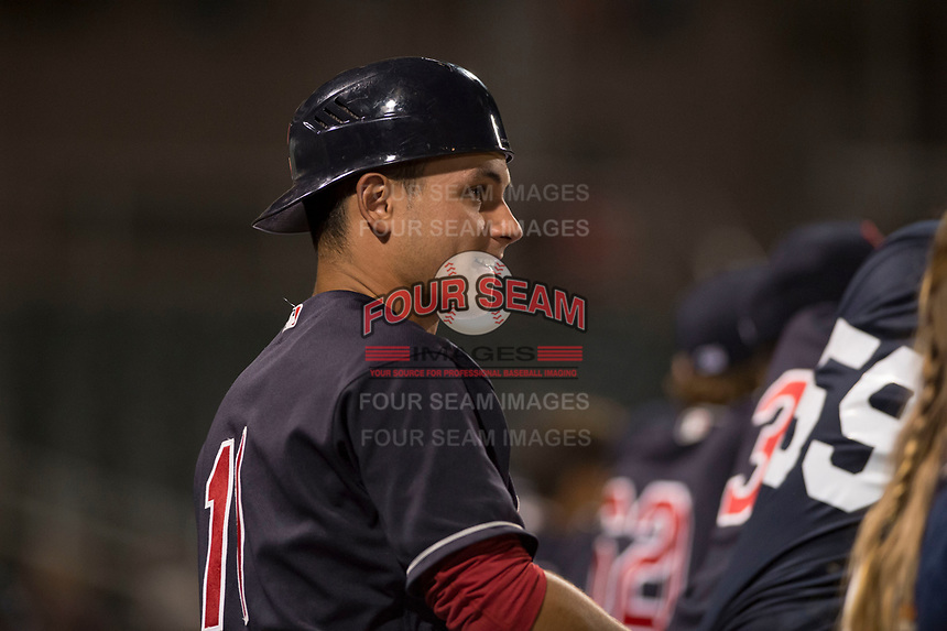 AZL Indians 1 catcher Bryan Lavastida (11) during an Arizona League game against the AZL White Sox at Goodyear Ballpark on June 20, 2018 in Goodyear, Arizona. AZL Indians 1 defeated AZL White Sox 8-7. (Zachary Lucy/Four Seam Images)