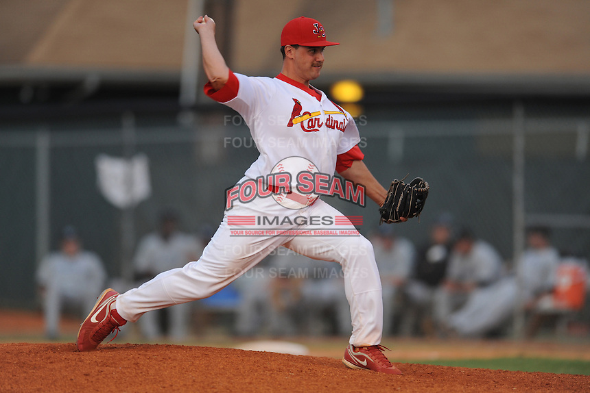 Johnson City Cardinals pitcher Chris Constantino #46 delivers a pitch during the first game of the 2011 Championship Series between the Bluefield Blue Jays and the Johnson City Cardinals at Howard Johnson Field on September 3, 2011 in Johnson City, Tennessee.  The Cardinals won the game 4-3.  (Tony Farlow/Four Seam Images)